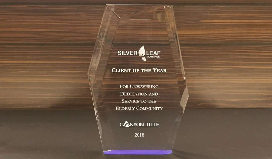 Silver Leaf Mortgage is named Client of the Year by Canyon Title